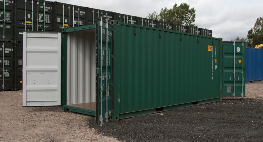 20ft New 'One Trip' Tunnel Shipping Container - External view with doors open