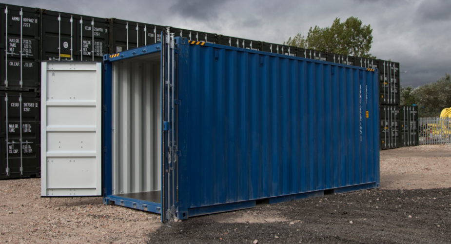 20ft New 'One Trip' High Cube Shipping Container - External view with doors open
