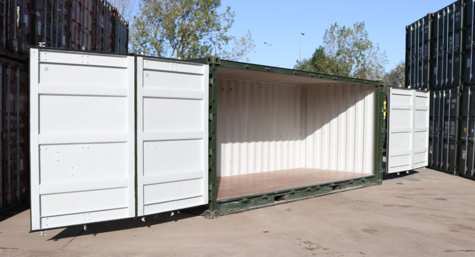 New 20ft Full Side Access Containers - External view with both side doors open
