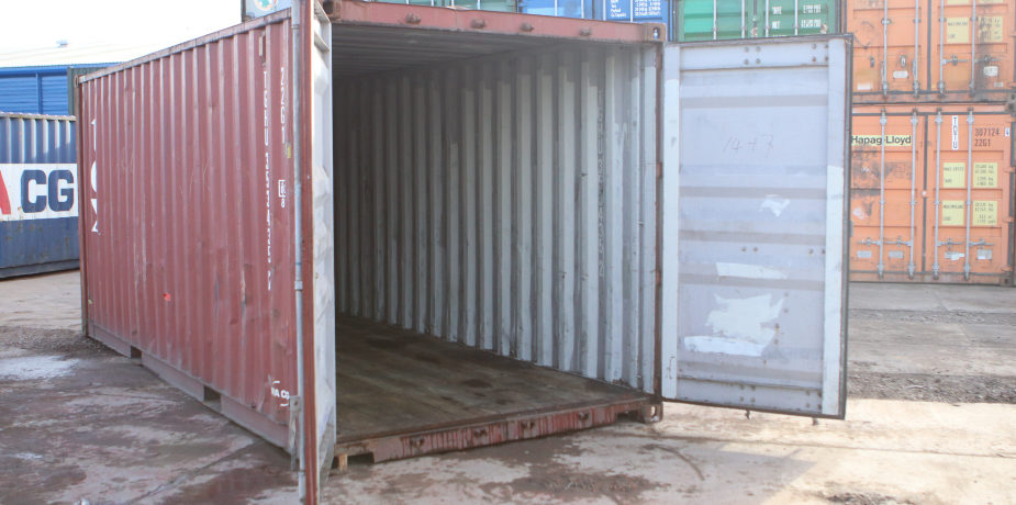 20ft Used Shipping Container - External view with doors open