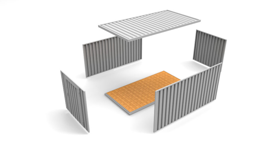 Deconstructed Flat Pack Storage Container - External view
