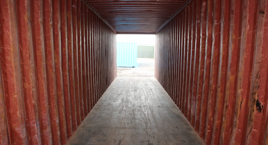 40ft Used High Cube Shipping Container - Internal view with doors open