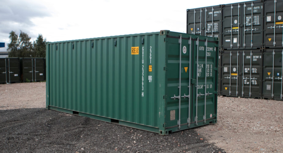 20ft New 'One Trip' Tunnel Shipping Container - External view with doors closed