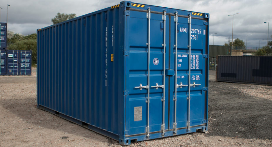 20ft New 'One Trip' High Cube Shipping Container - External view with doors closed