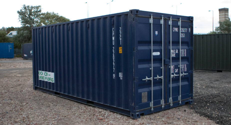 20ft New 'One Trip' Shipping Container - External view with doors closed