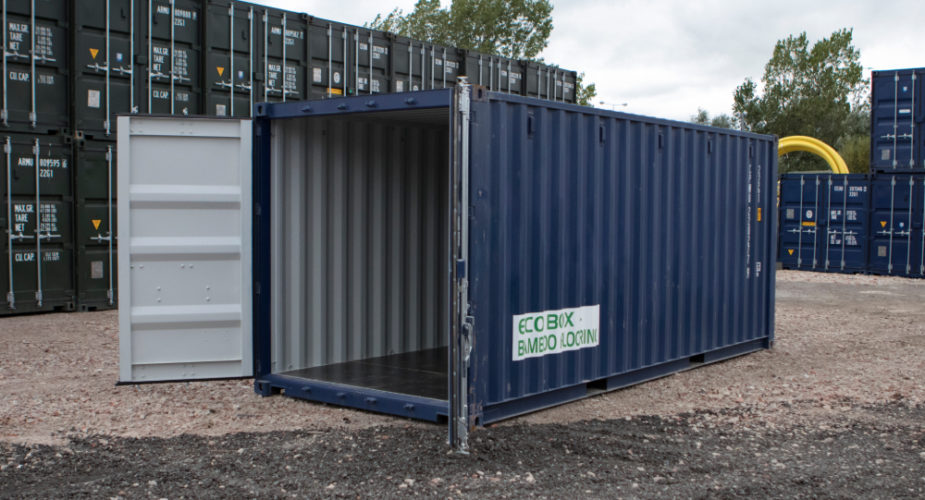 20ft New 'One Trip' Shipping Container - External view with doors open