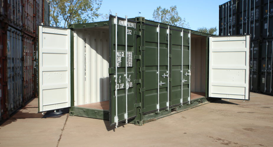 20ft Side Opening Container - External view with front doors open and one side door open