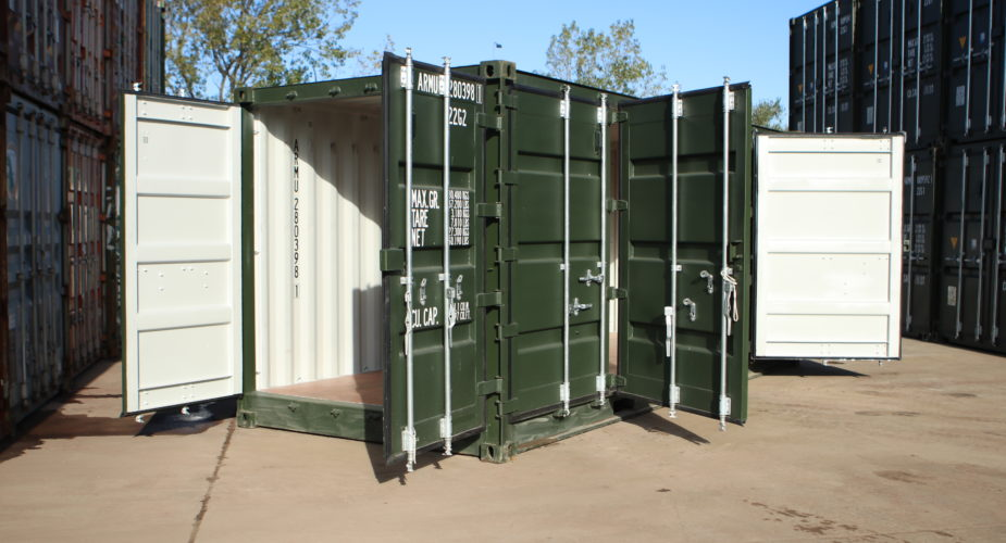 20ft full side access shipping container - External view with front doors open and two side doors open