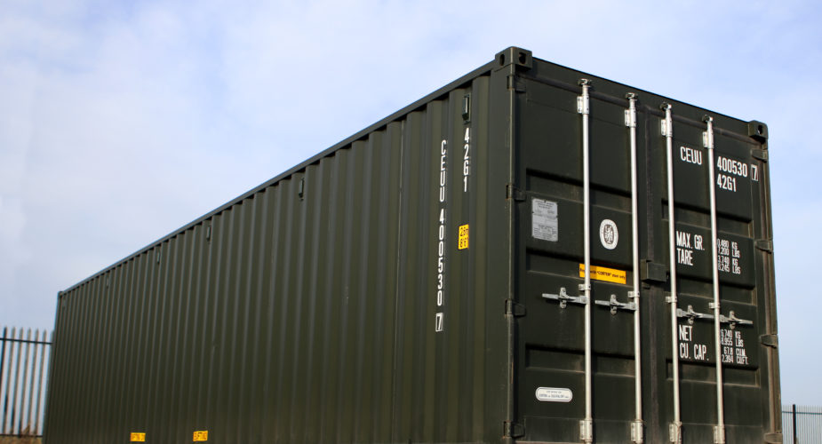 40ft New 'One Trip' Shipping Container - External view with doors closed