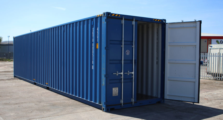 40ft New 'One Trip' High Cube Shipping Container - External view with one door open