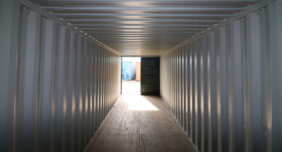 30ft Used Refurbished Storage Container - Internal view with one door open