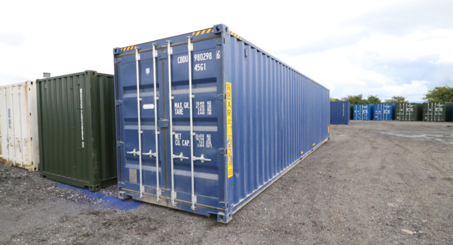 40ft High Cube New 'One Trip' Tunnel Shipping Container - External view with doors closed