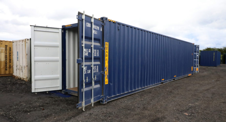 40ft High Cube New 'One Trip' Tunnel Shipping Container - External view with doors open