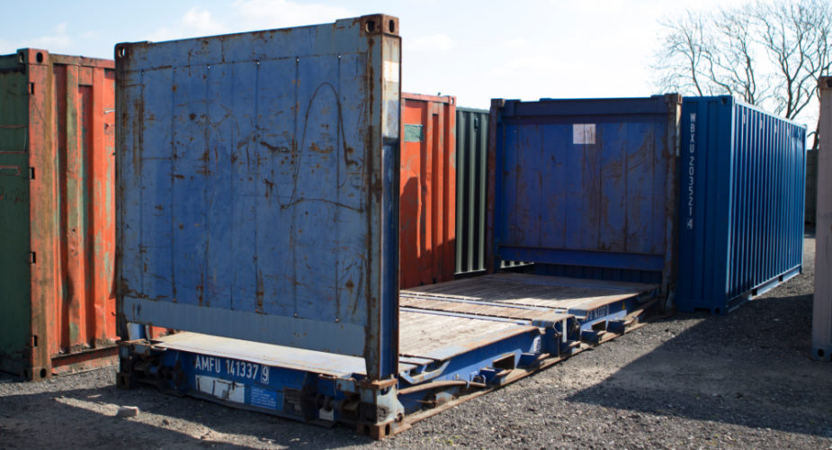 Flat-Rack Shipping Container - panels folded up