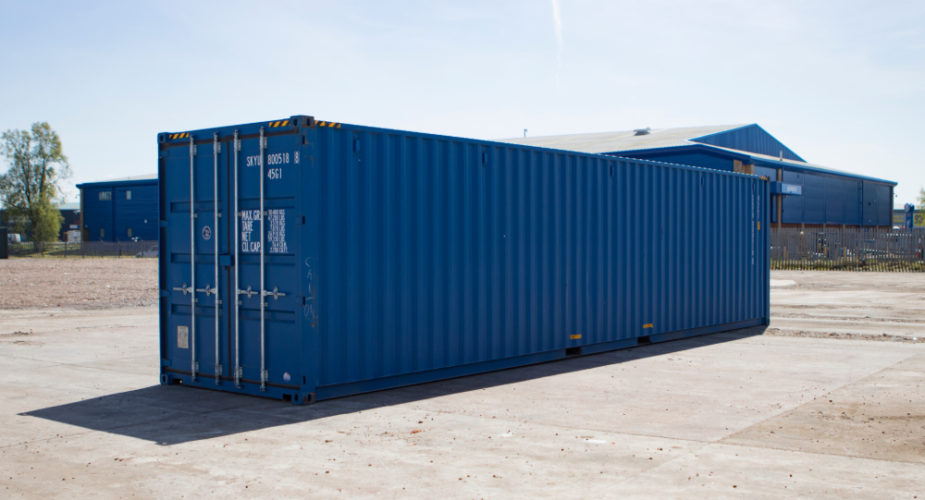 40ft New 'One Trip' High Cube Shipping Container - External view with doors closed