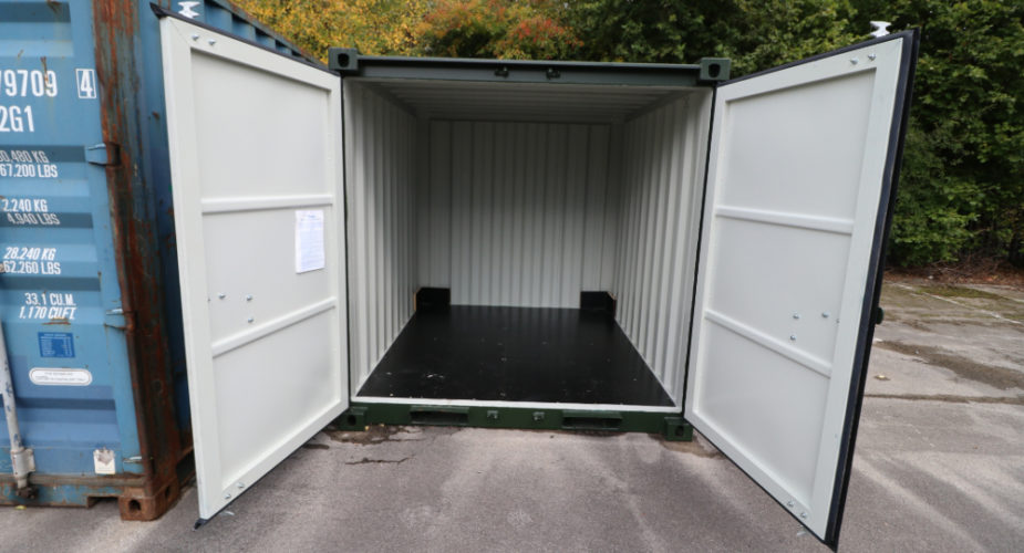 8ft New Build Container - External front view with doors open