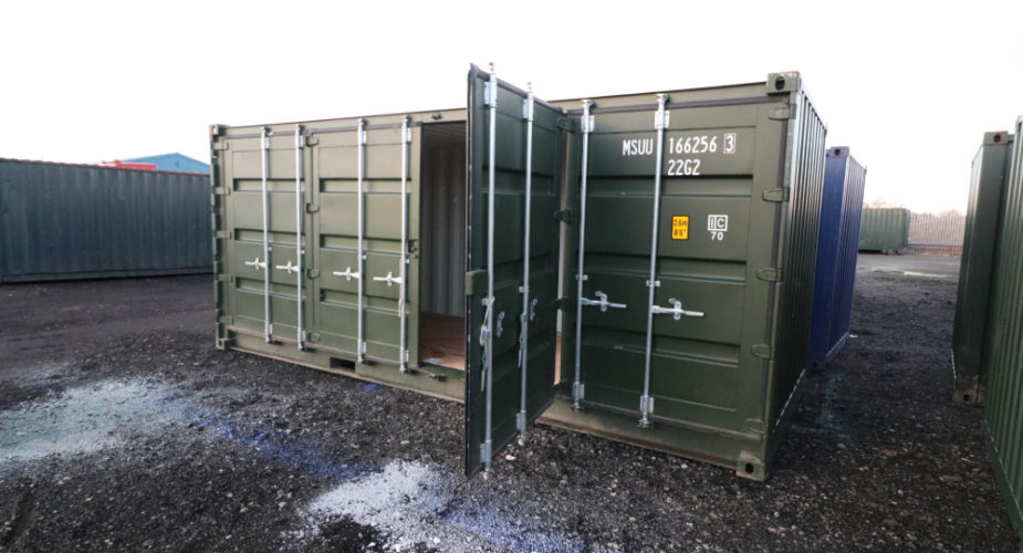 New Full Side Access Shipping Container - External view with one side door open