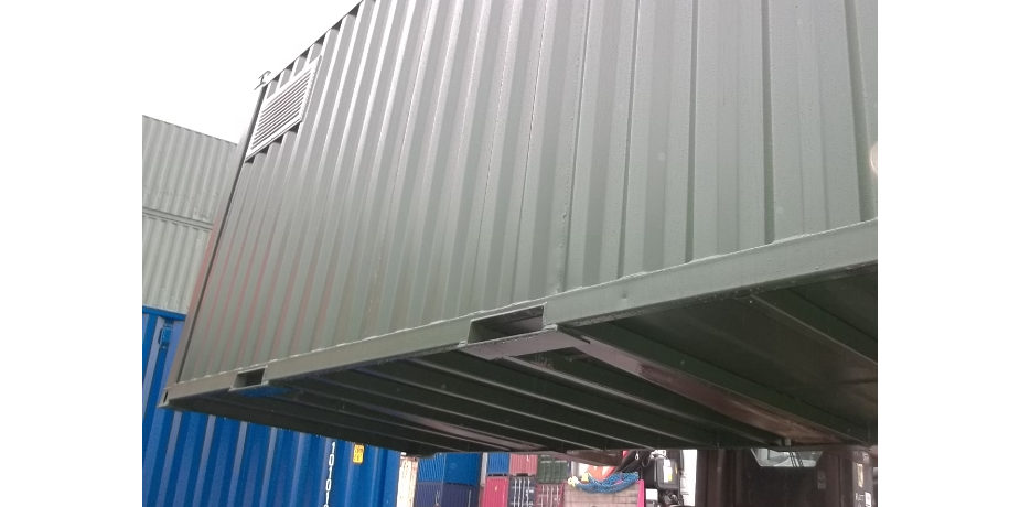 Purpose built 16ft x 7ft steel container - external view