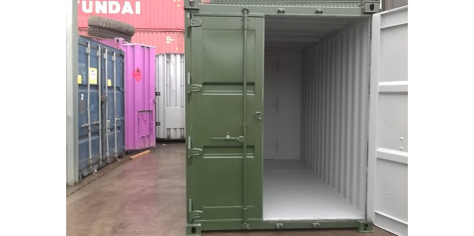 Purpose built 16ft x 7ft shipping container conversion - front view with one door open