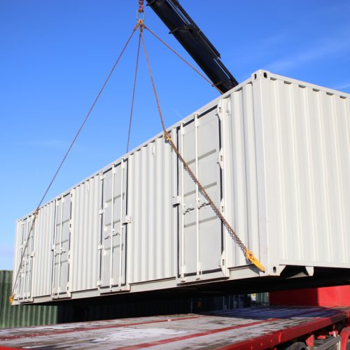 40ft container conversion collection - Bespoke 40ft multistore container conversion to form 4no. 10ft stores for a self-storage customer.