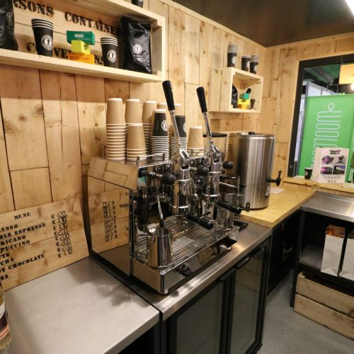 Coffee anyone? - Our 10ft bespoke coffee shop container on display at the Farm Business Innovation trade show in 2018.