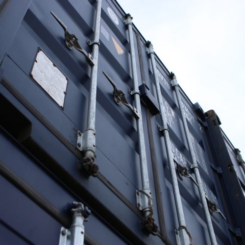 Double stacked 20ft containers - RAL5013 20ft new 'one trip' containers double stacked.