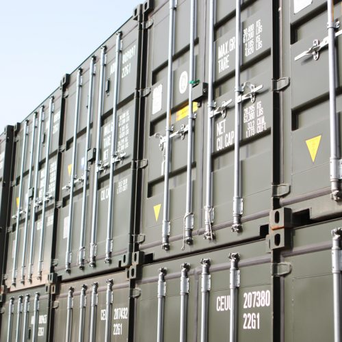 High Stock Levels - Stocks of 20ft 'one trip' containers together at the depot.