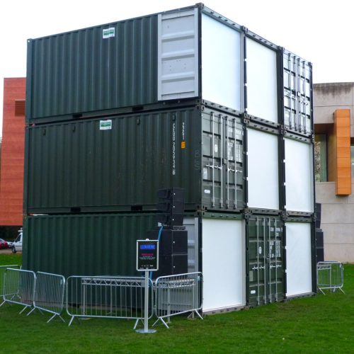 Precious Lumiere 2015 - 9no. 20ft new 'one trip' tunnel containers stacked used at Durham Lumiere 2015 for the 'Precious' art installation.